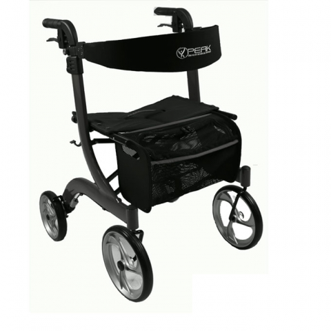 Walking Frame Ellipse Lite Aluminium Rollator - Black, Large