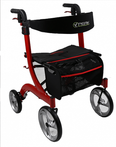 Walking Frame Ellipse Lite Aluminium Rollator - Red Small